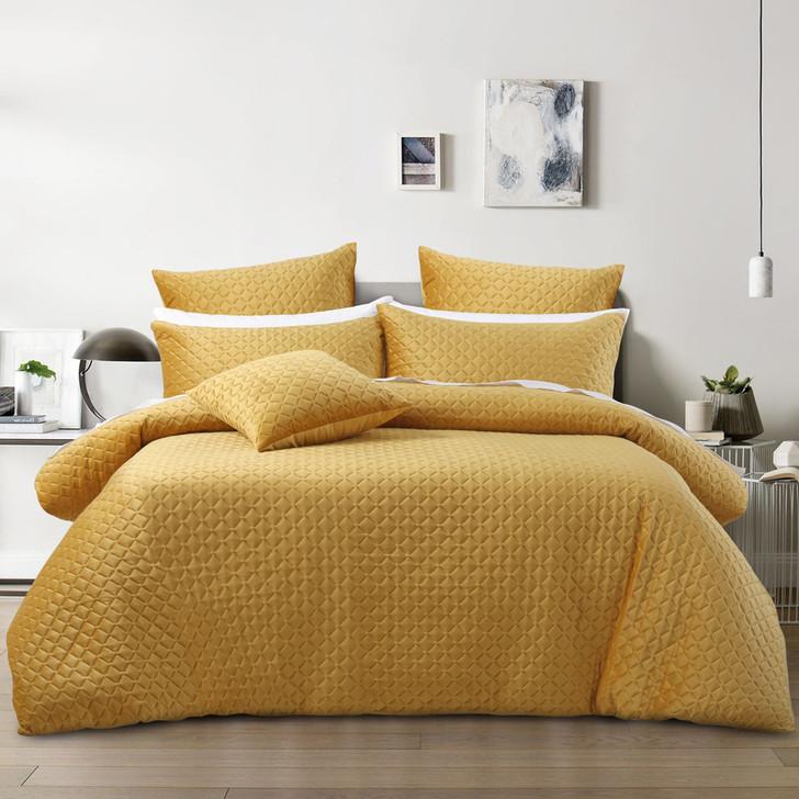 Bianca Alden Gold Queen Bed Quilt Cover Set | My Linen