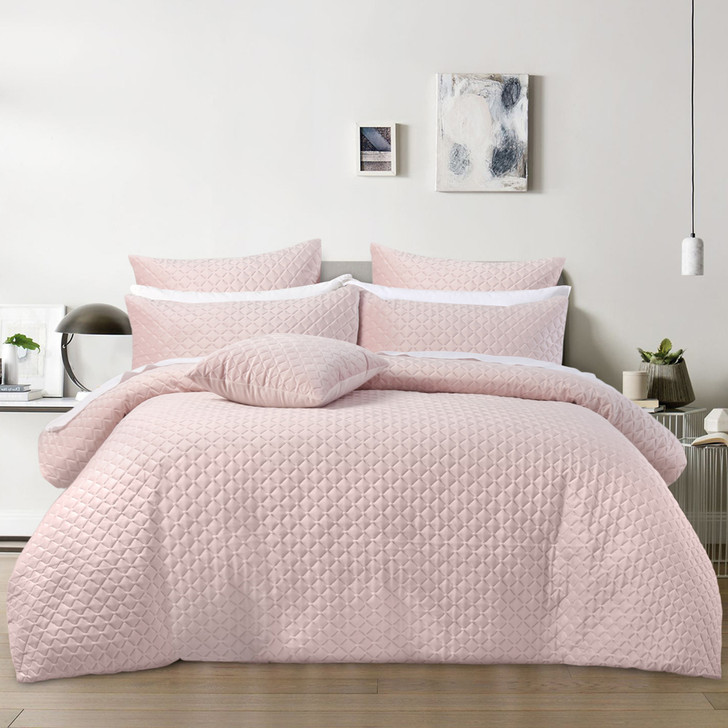 Bianca Alden Blush Queen Bed Quilt Cover Set | My Linen