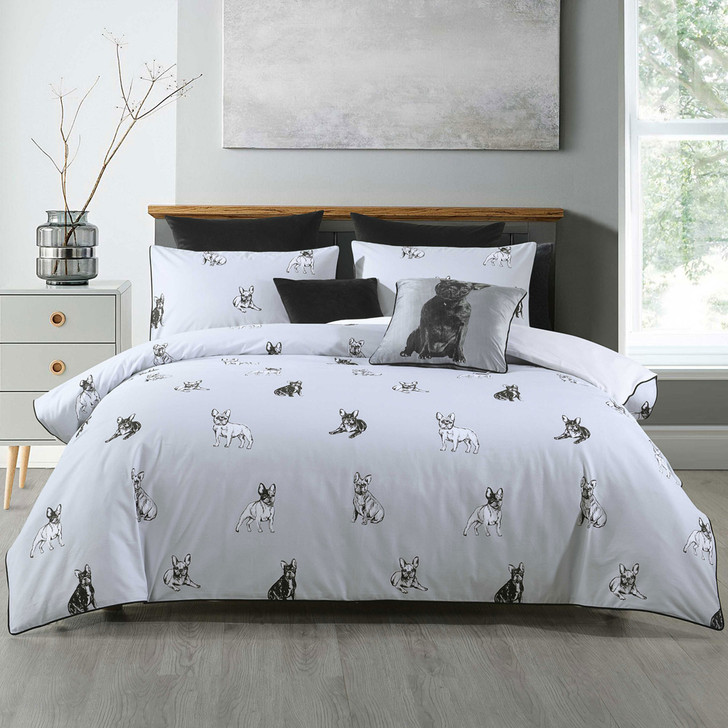 Bianca French Bulldog Queen Bed Quilt Cover Set   My Linen