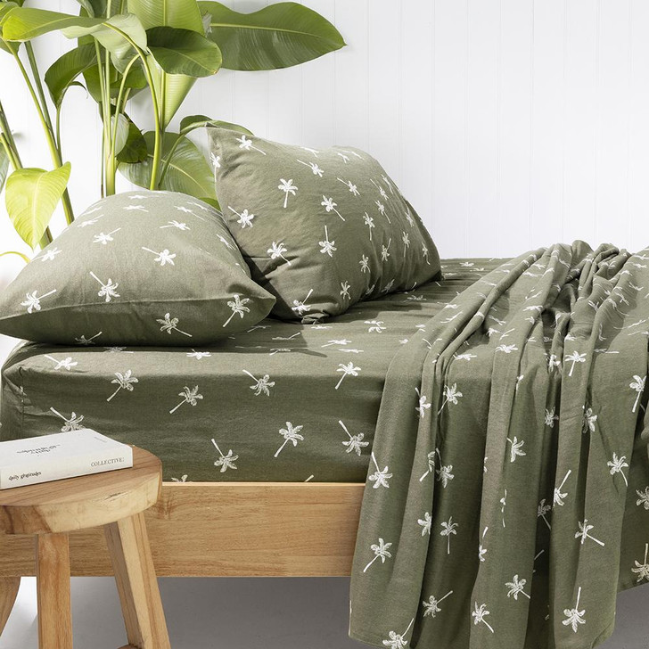 Bambury Cocos Olive Flannelette Double Bed Sheet Set Lifestyle | My Linen