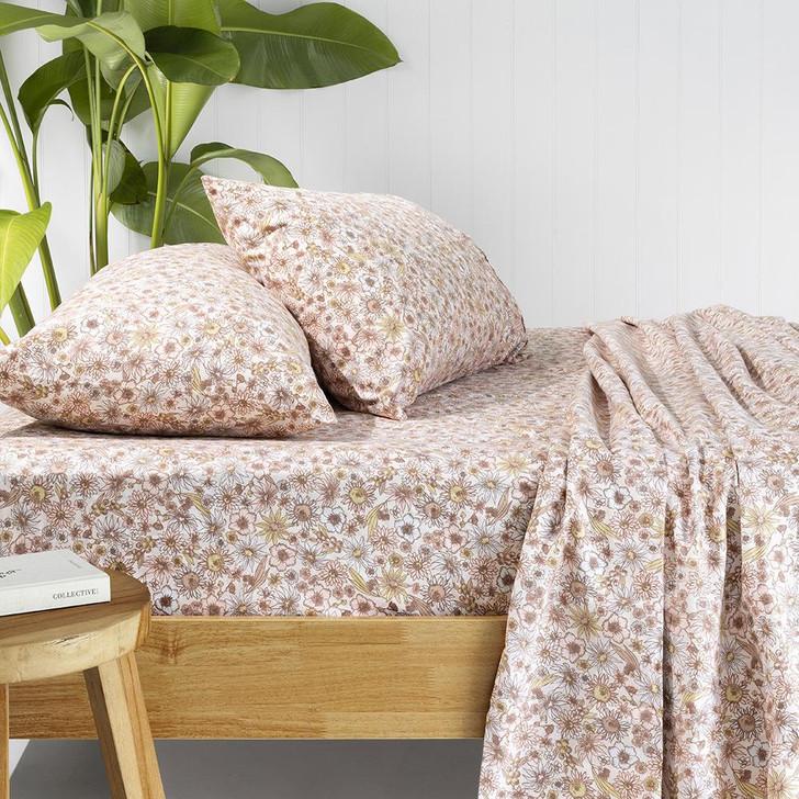 Bambury Marguerite Rosewater Flannelette King Single Bed Sheet Set Lifestyle | My Linen