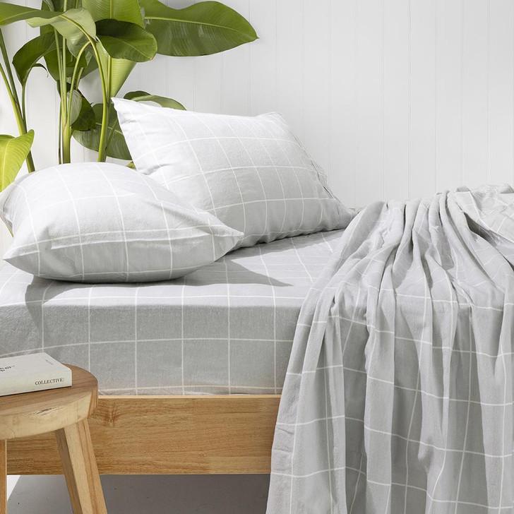 Bambury Carrington Silver Flannelette King Single Bed Sheet Set Lifestyle | My Linen