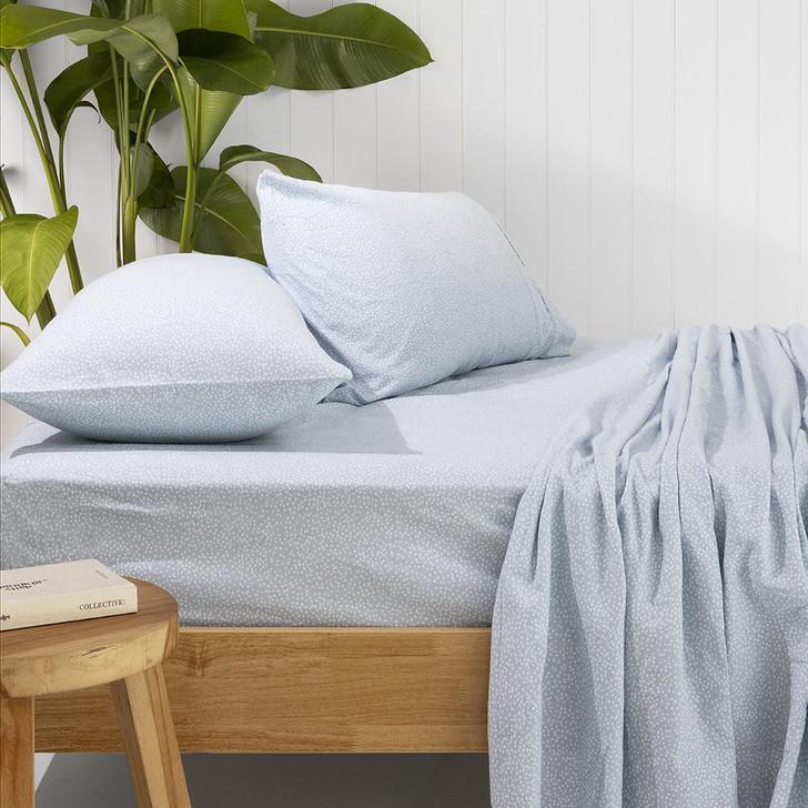 Bambury Spots Steel Blue Flannelette Double Bed Sheet Set Lifestyle | My Linen