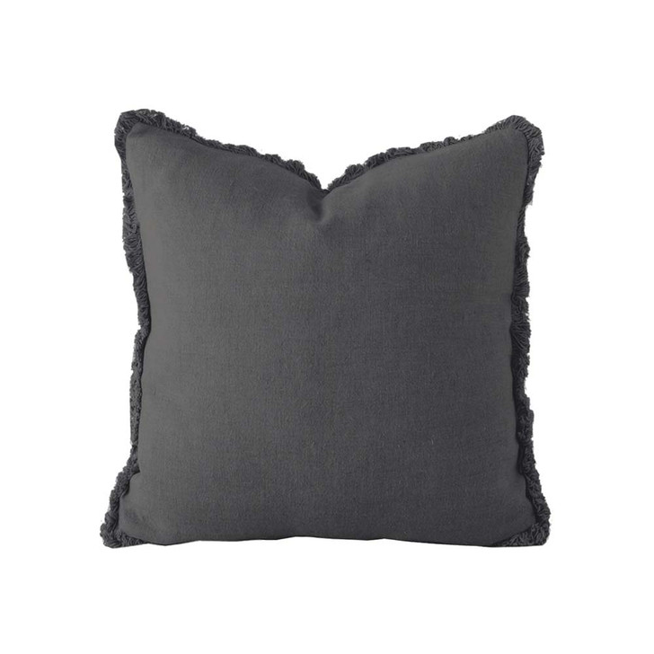 Bambury 100% Linen Charcoal Square Filled Cushion | My Linen