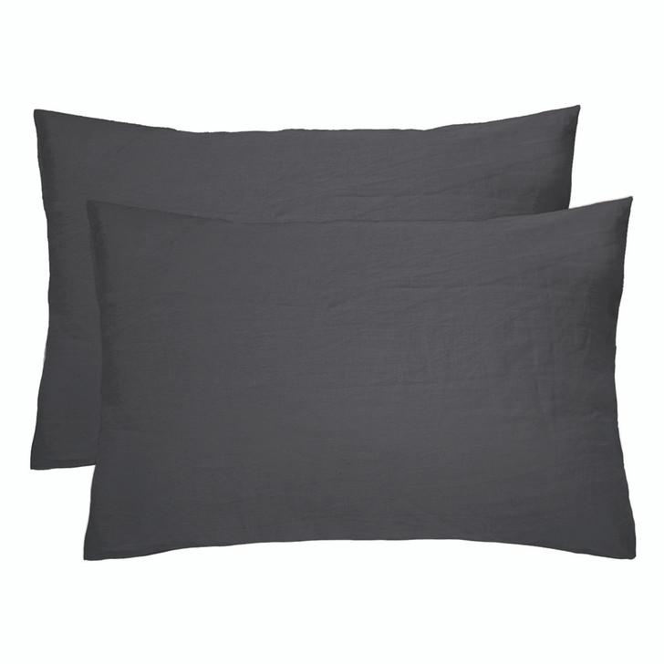 Bambury 100% Linen Charcoal Standard Pillowcases | My Linen