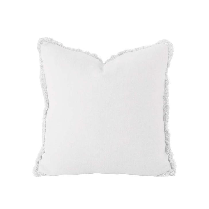 Bambury 100% Linen Ivory White Square Filled Cushion | My Linen