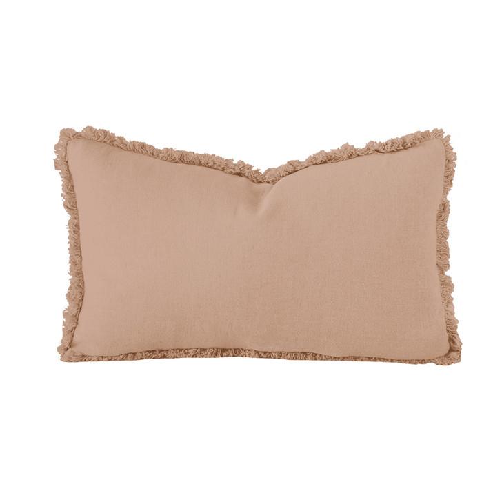 Bambury 100% Linen Tea Rose Long Filled Cushion | My Linen