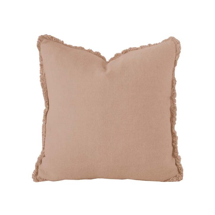 Bambury 100% Linen Tea Rose Square Filled Cushion | My Linen