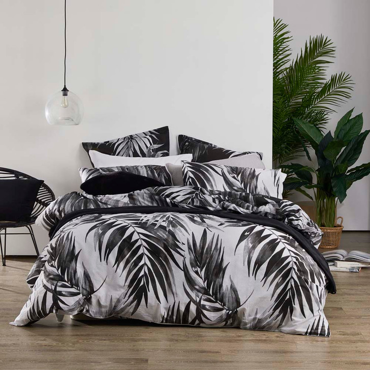 Logan and Mason Cayman Charcoal King Bed Quilt Cover Set | My Linen