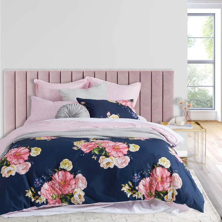 Logan and Mason Bouquet Navy King Bed Quilt Cover Set   My Linen
