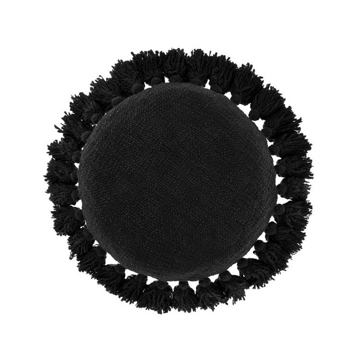Linen House Florida Black Round Filled Cushion | My Linen