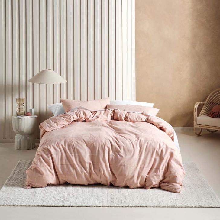Linen House Straten Rose Flannelette Double Bed Quilt Cover Set | My Linen