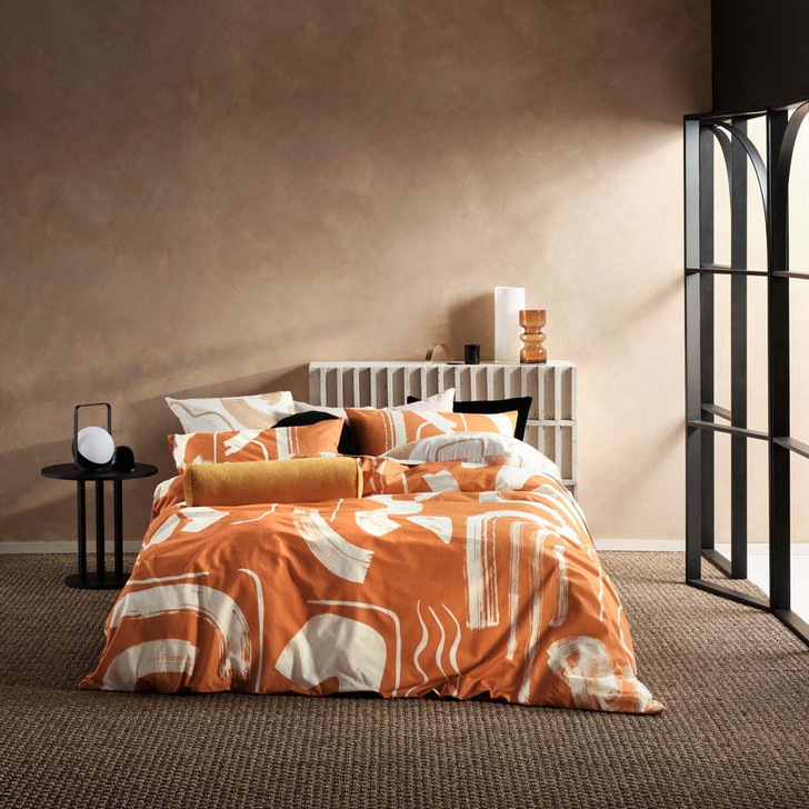 Linen House Arden Apricot King Bed Quilt Cover Set | My Linen