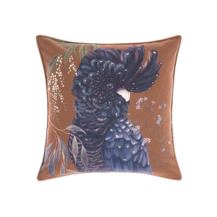 Linen House Acacia Garden Navy Cockatoo Square Filled Cushion | My Linen