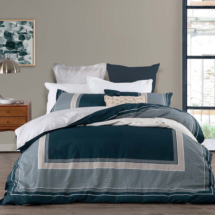 Logan and Mason Pomeroy Teal Queen Bed Quilt Cover Set | My Linen