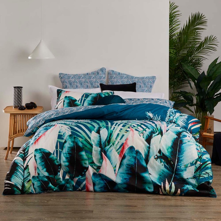 Logan and Mason Mauritius Teal King Bed Quilt Cover Set   My Linen