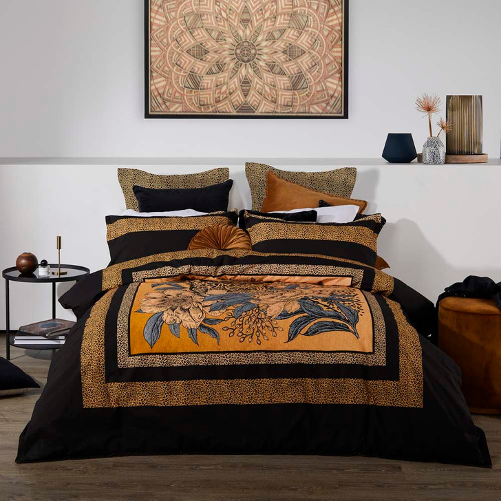Logan and Mason Cheetah Black King Bed Quilt Cover Set | My Linen