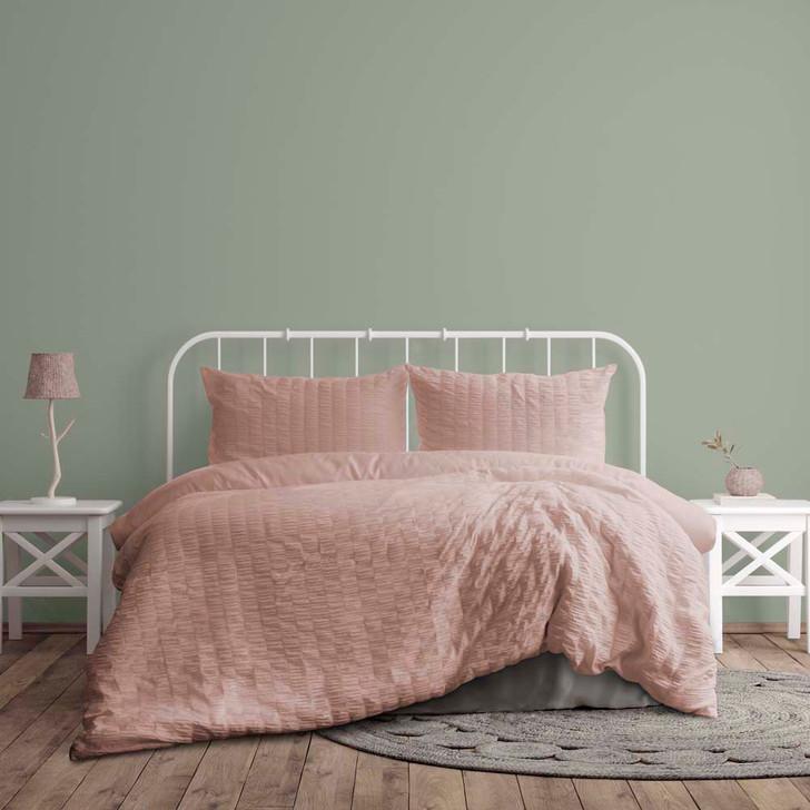 Ardor Boudoir Lea Seersucker Nude Queen Bed Quilt Cover Set   My Linen