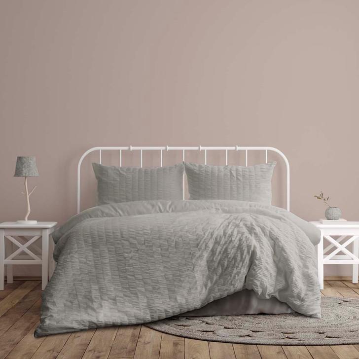 Ardor Boudoir Lea Seersucker Silver King Bed Quilt Cover Set | My Linen