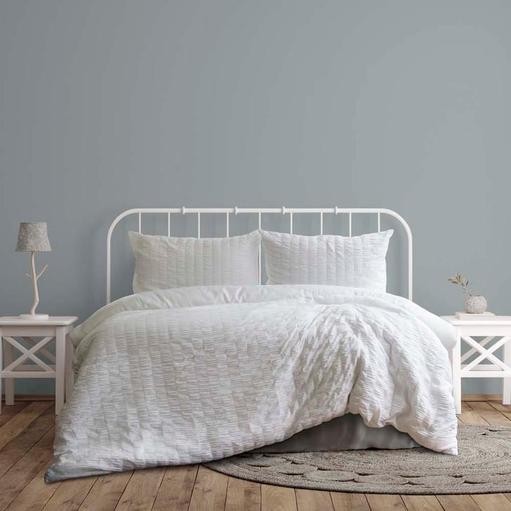Ardor Boudoir Lea Seersucker White Queen Bed Quilt Cover Set | My Linen