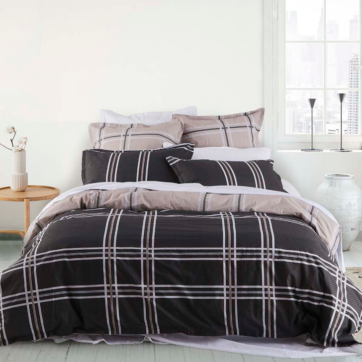 Logan and Mason Charlie Slate Single Bed Quilt Cover Set   My Linen