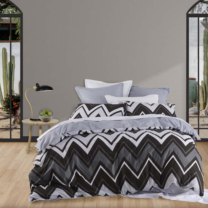 Logan and Mason Tycen Black Double Bed Quilt Cover Set | My Linen