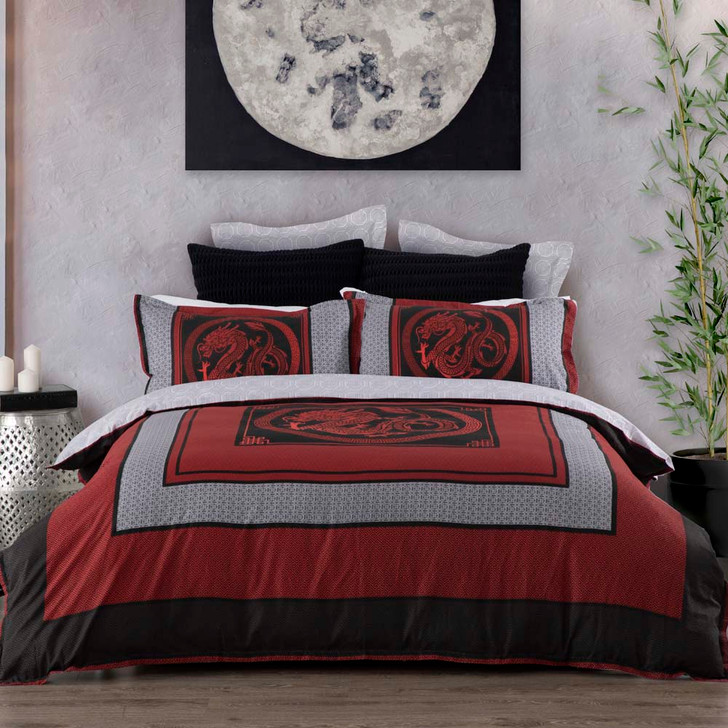Logan and Mason Liang Red King Bed Quilt Cover Set   My Linen