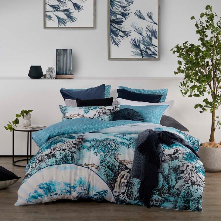 Logan and Mason Kaiya Blue King Bed Quilt Cover Set   My Linen
