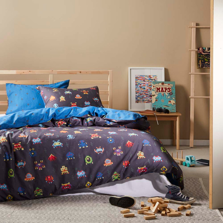 Logan and Mason Space Invaders Navy Single Bed Quilt Cover Set | My Linen