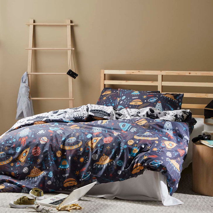Logan and Mason Space Multi Double Bed Quilt Cover Set   My Linen