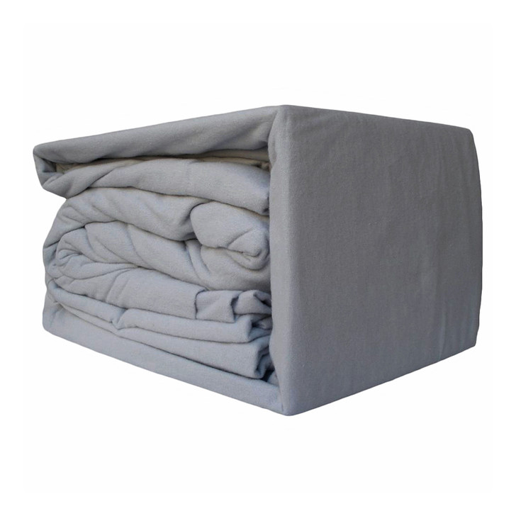 Ramesses 100% Egyptian Cotton Flannelette Single Bed Sheet Set Sleet | My Linen