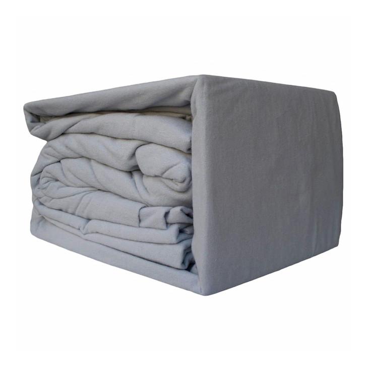 Ramesses 100% Egyptian Cotton Flannelette Queen Bed Sheet Set Sleet | My Linen