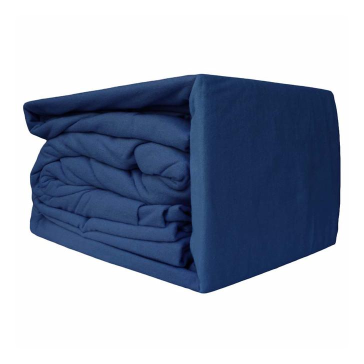 Ramesses 100% Egyptian Cotton Flannelette Queen Bed Sheet Set Blue Depth | My Linen