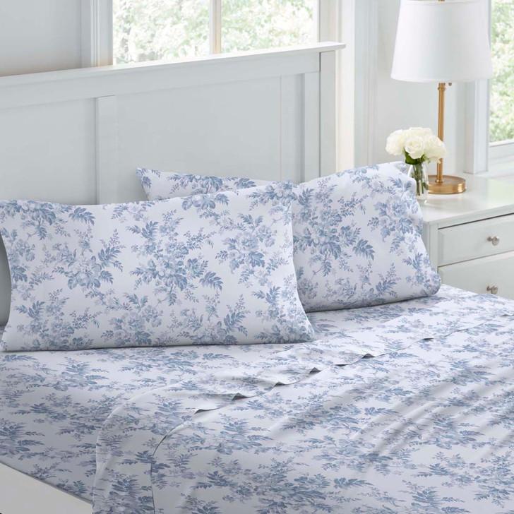 Laura Ashley Vanessa Soft Blue Flannelette Double Bed Sheet Set | My Linen