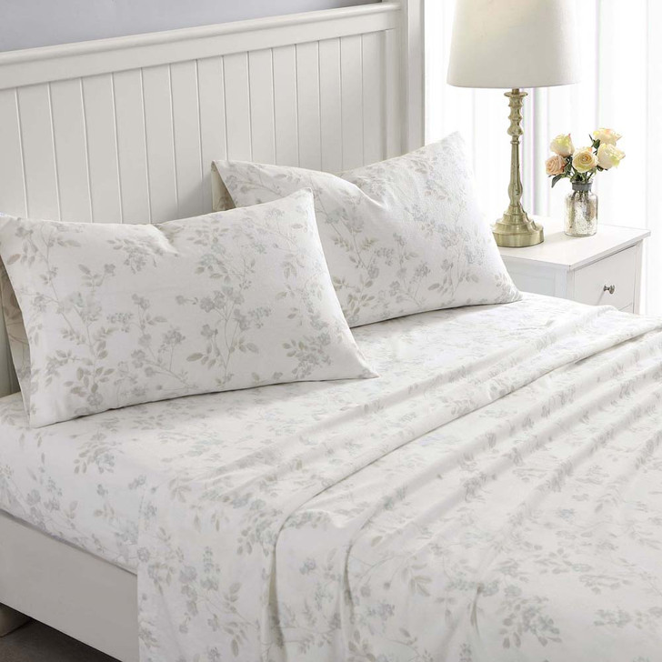 Laura Ashley Fawna Soft Grey Flannelette King Single Bed Sheet Set | My Linen