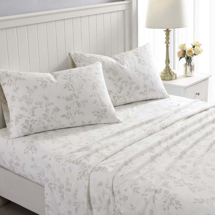 Laura Ashley Fawna Soft Grey Flannelette Queen Bed Sheet Set | My Linen