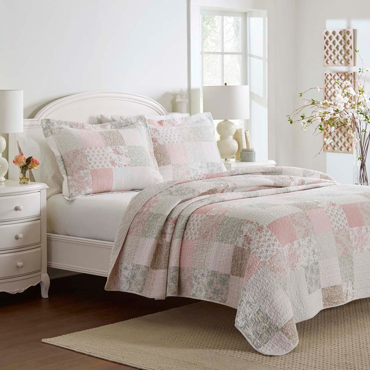 Laura Ashley Felicity White Queen / King Bed Coverlet Set Close Up | My Linen