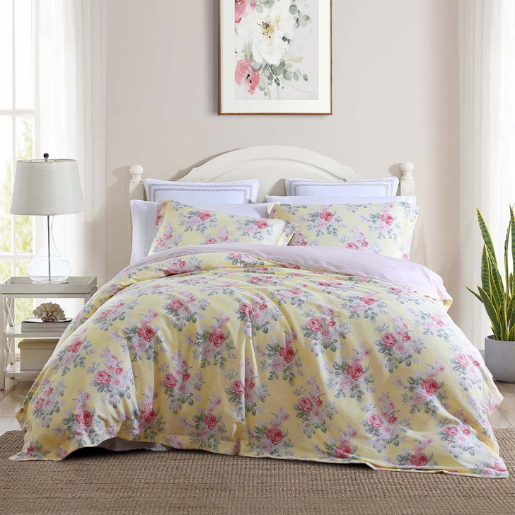 Laura Ashley Melany Yellow Super King Quilt Cover Set | My Linen