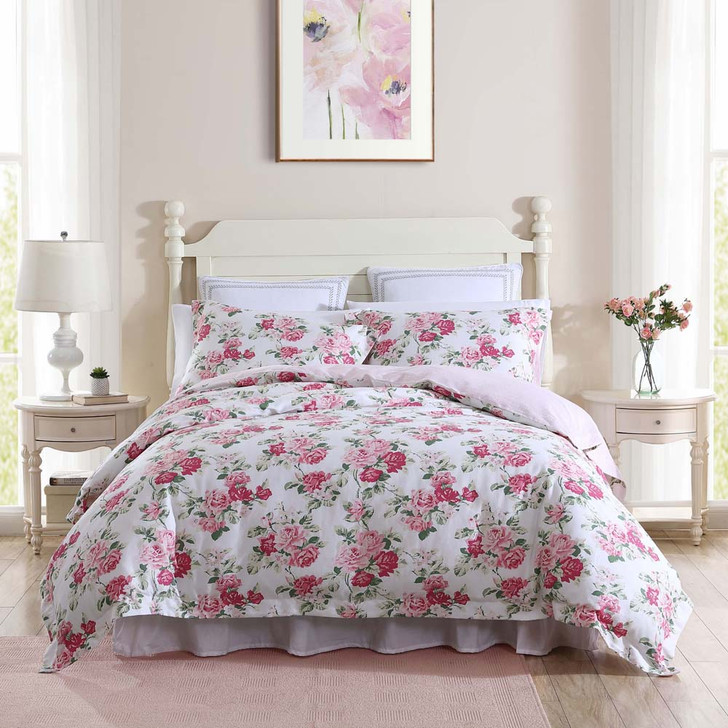 Laura Ashley Lidia Pink Super King Quilt Cover Set | My Linen