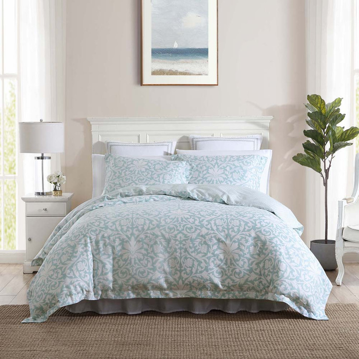 Laura Ashley Mia Soft Blue Queen Bed Quilt Cover Set | My Linen