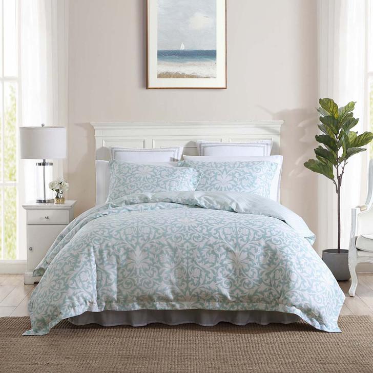 Laura Ashley Mia Soft Blue Super King Quilt Cover Set   My Linen