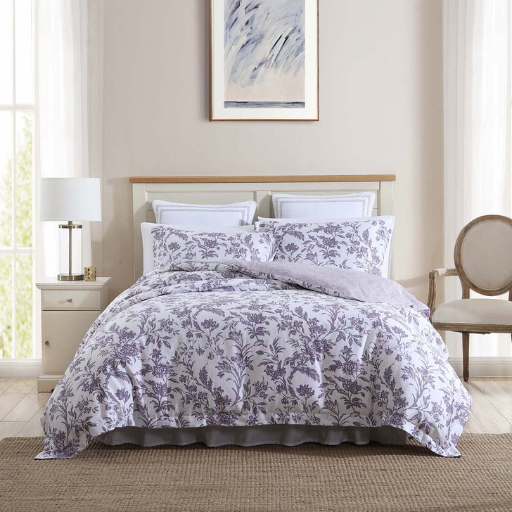 Laura Ashley Delila Plum King Bed Quilt Cover Set | My Linen