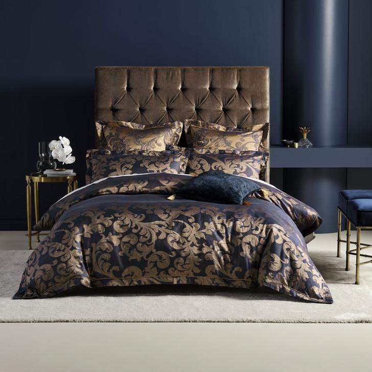 Grace by Linen House Verity Navy Queen Bed Quilt Cover Set | My Linen