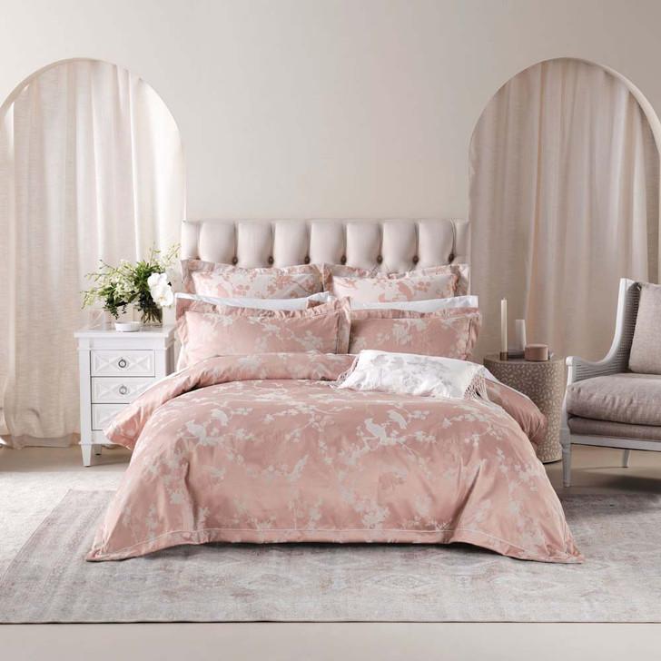 Grace by Linen House Sonoya Pink Queen Bed Quilt Cover Set   My Linen