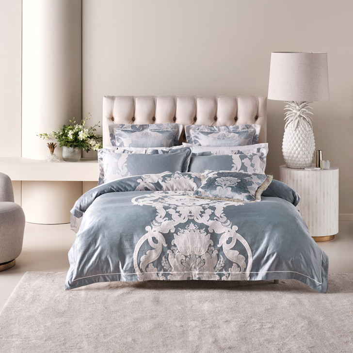 Grace by Linen House Dionisia Blue Queen Bed Quilt Cover Set | My Linen