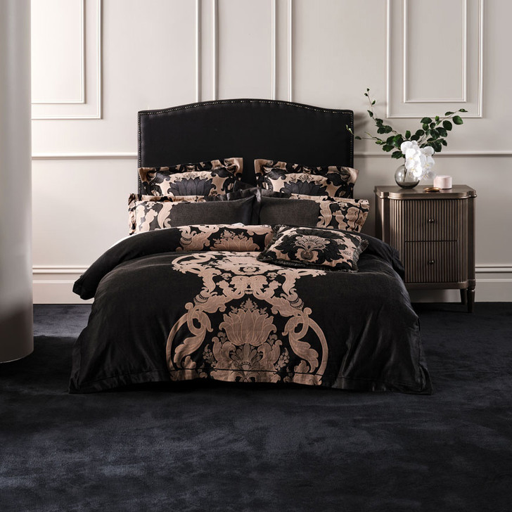 Grace by Linen House Dionisia Black Queen Bed Quilt Cover Set   My Linen