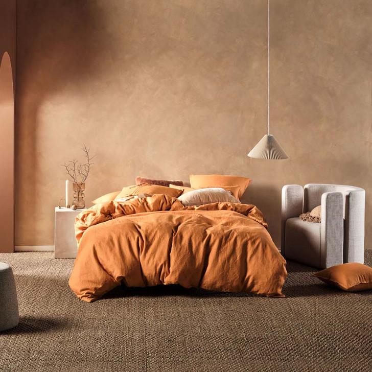 Linen House Nimes Terracotta Queen Bed Quilt Cover Set | My Linen