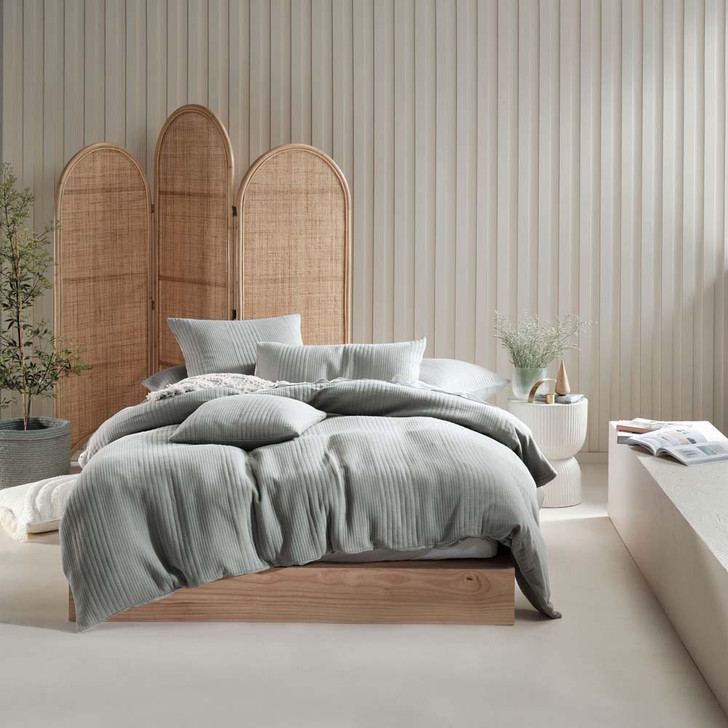 Linen House Osmond Smoke Single Bed Quilt Cover Set | My Linen
