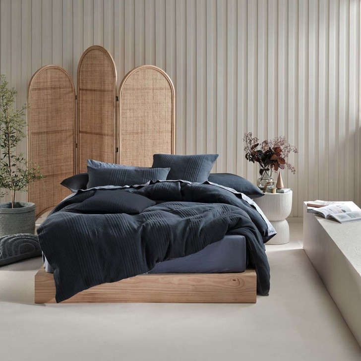 Linen House Osmond Slate Queen Bed Quilt Cover Set | My Linen