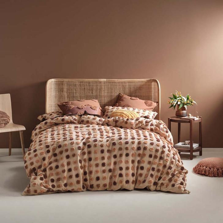 Linen House Haze Pecan Queen Bed Quilt Cover Set | My Linen